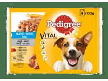 Aliment humit Pedigree gos vedella i aus sobre 4x100gr