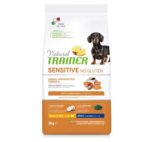 Pinso Natural Trainer gos sensitive no gluten small and toy salmó 2kg 1