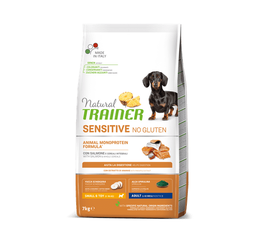 Pinso Natural Trainer gos sensitive no gluten small and toy salmó 7kg 1