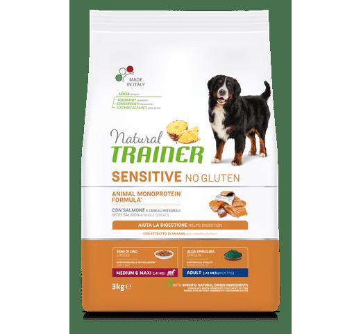 Pinso Natural Trainer gos sensitive no gluten medium maxi salmó 3kg 1