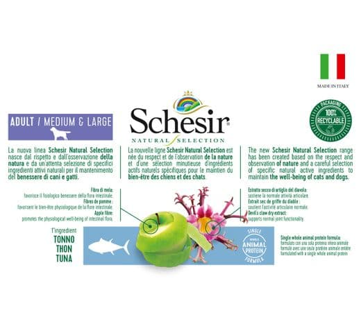 Pinso Schesir Natural Selection gos medium & large tonyina 4