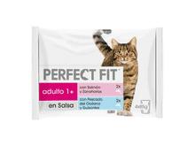 Aliment humit Perfect Fit gat peix i verdures 4x85gr