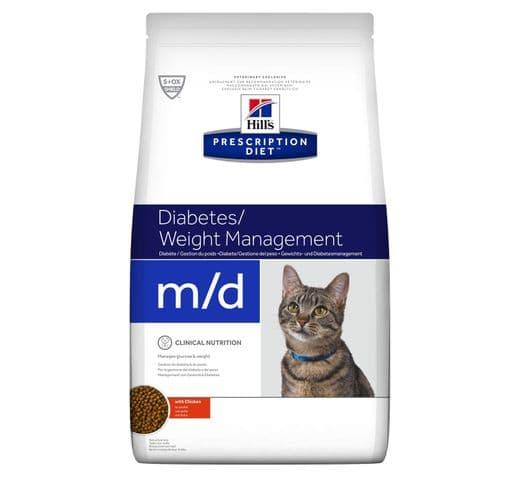 Pinso de dieta veterinària Hills gat m/d diabetes + weight management pollastre 1,5 1