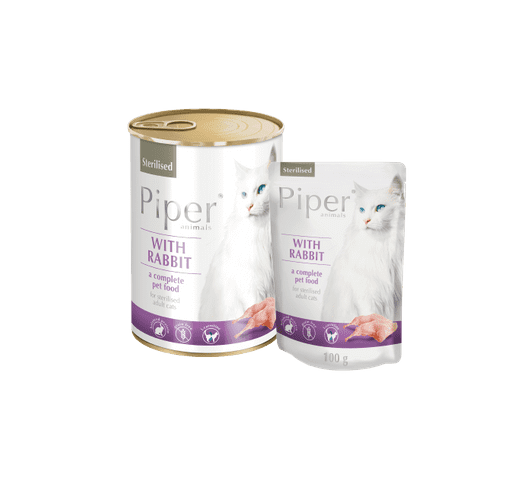 Aliment humit Piper per gats esterilitzats amb conill 1
