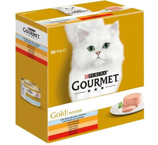 Aliment humit Gourmet Purina gat gold caixa 8 mousse variat 1