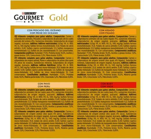 Aliment humit Gourmet Purina gat gold caixa 8 mousse variat 2