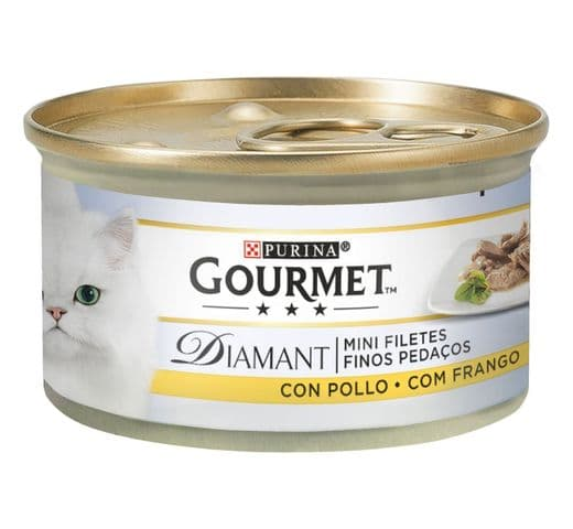 Aliment humit Gourmet Purina gat diamant fines làmines pollastre 1