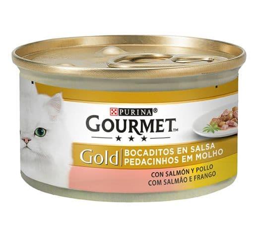 Aliment humit Gourmet Purina gat gold salmó/pollastre 1