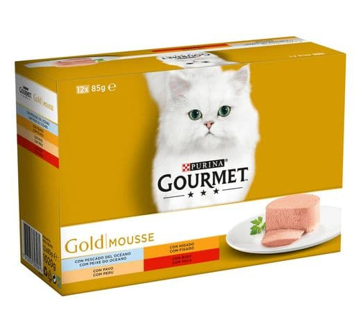 Aliment humit Gourmet Purina gat gold caixa 12 mousse 1
