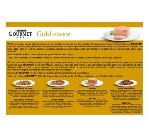 Aliment humit Gourmet Purina gat gold caixa 12 mousse 2