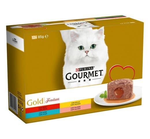 Aliment humit Gourmet Purina gat gold caixa 12 fondant 1