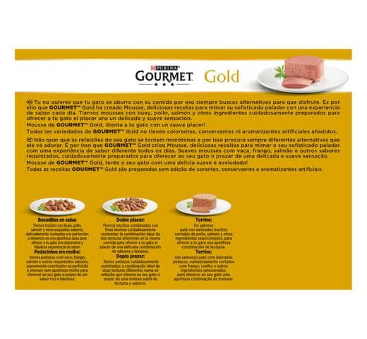 Aliment humit Gourmet Purina gat gold caixa 24 mousse 2
