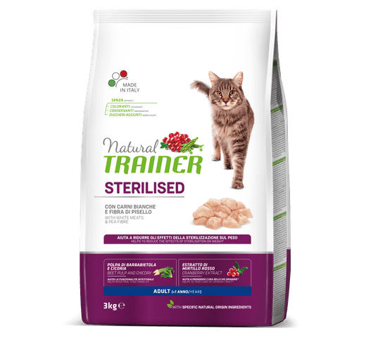 Pinso Natural Trainer gat sterilized carn blanca 3kg 1